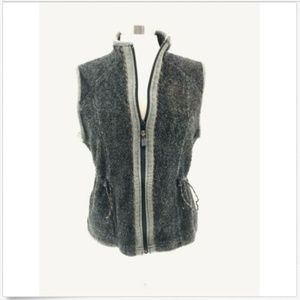 Woolrich Womens Onyx Heather Large Vest Sweater